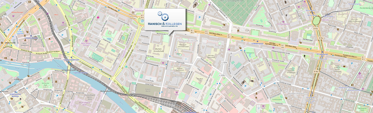 Anfahrt zur Kanzlei Hanisch und Kollegen in Berlin